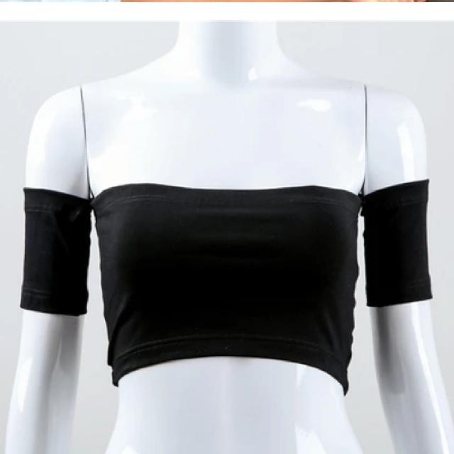 be9a36f96b39 kylie jenner ebay black off shoulder tube crop top short sleeve ...