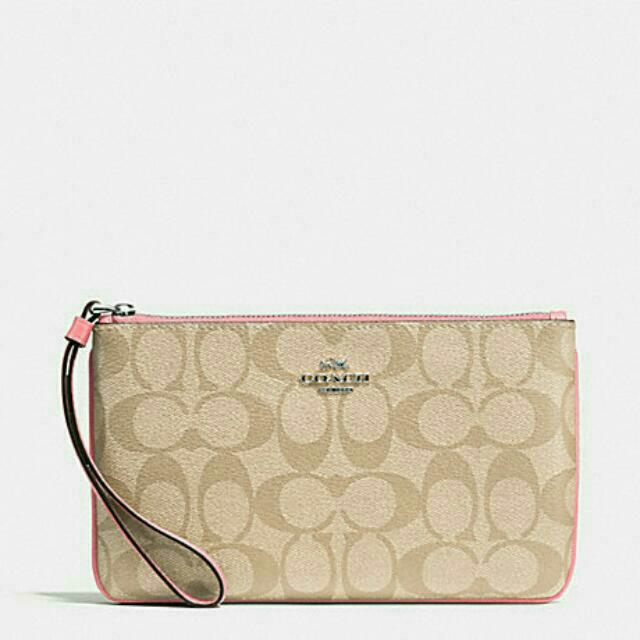 be5ede4f9638 ... discount large wristlet in signature coated canvas coach f58695 womens  fashion bags wallets on carousell 3ead3