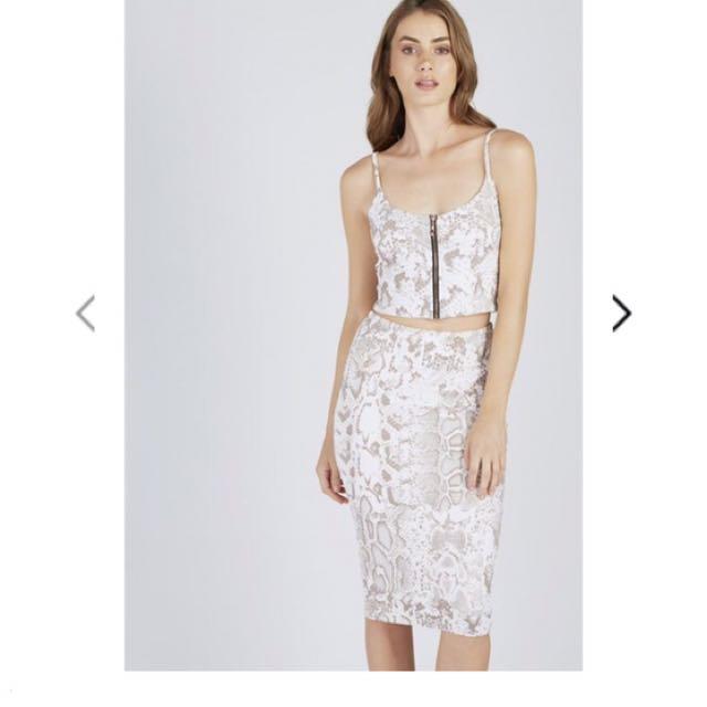 Luxe Snake Print Midi Skirt
