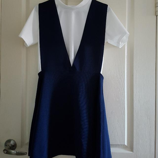 (MADE IN KOREA) OVERALL NAVY DRESS