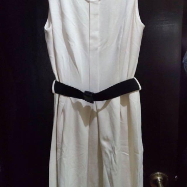 Mango White Dress W/belt