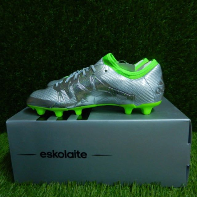 2eb471439c9 ... huge discount ff79d 6a690 Mens Adidas X 15.1 Eskolaite Limited Edition FG  Soccer Cleats~Silver