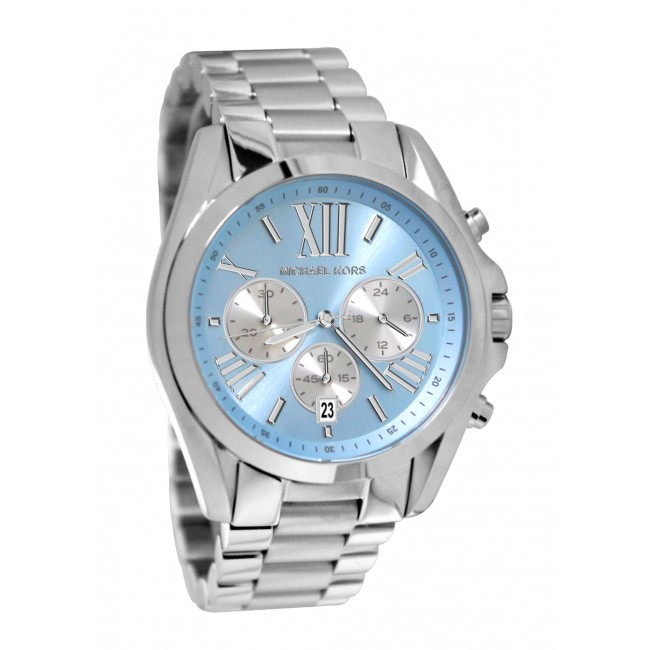 b37f2d1b8a4d MICHAEL KORS Bradshaw Chronograph Blue Dial Stainless Steel Ladies ...