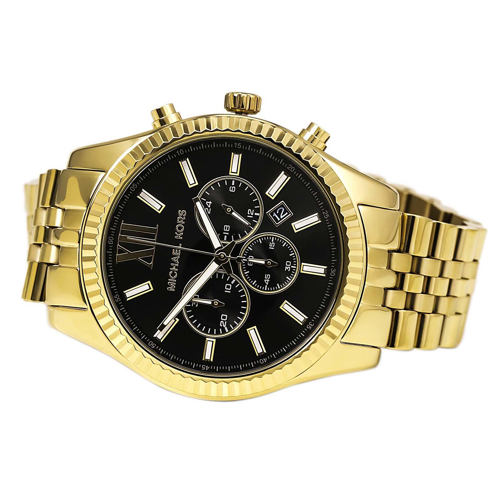 cfee5835cf14 Michael Kors Lexington Chronograph Gold Black Dial Men Oversize ...