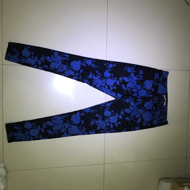 NEW !!  Dorothy Perkins Blue Black Pattern Denim Jeans Size 10