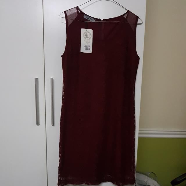 New Lace Dress Maroon S