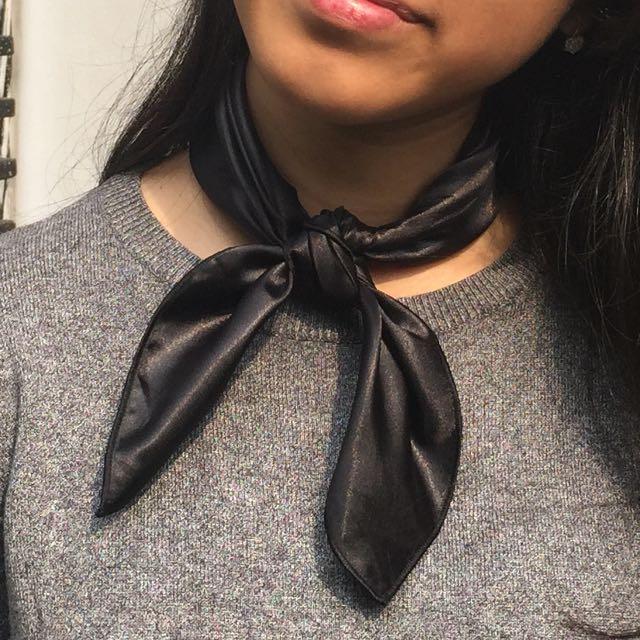 [NEW] Shiny Black Neck scarf / bandana