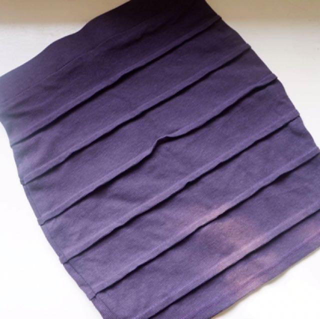 Purple Textured Pencil Skirt