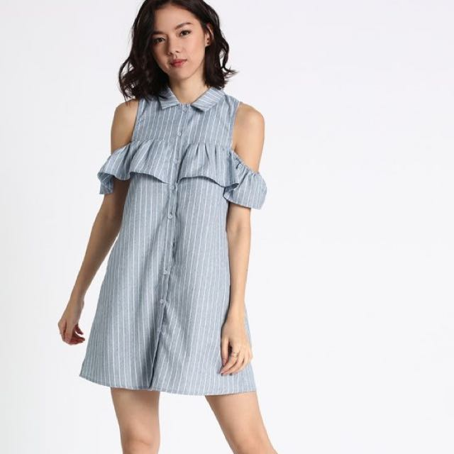 08955bded552 S) Love Bonito Fayrie Striped Off Shoulder Shirt Dress
