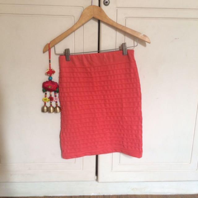 Salmon Bandage Pencil Skirt