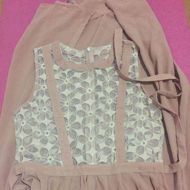 Semi Formal Beige Maxi Dress