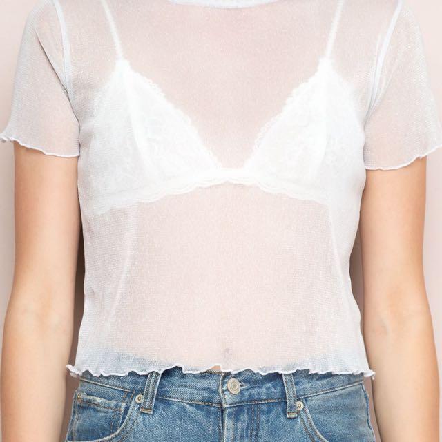 Short Sleeve Sparkly See Through Crop White Black