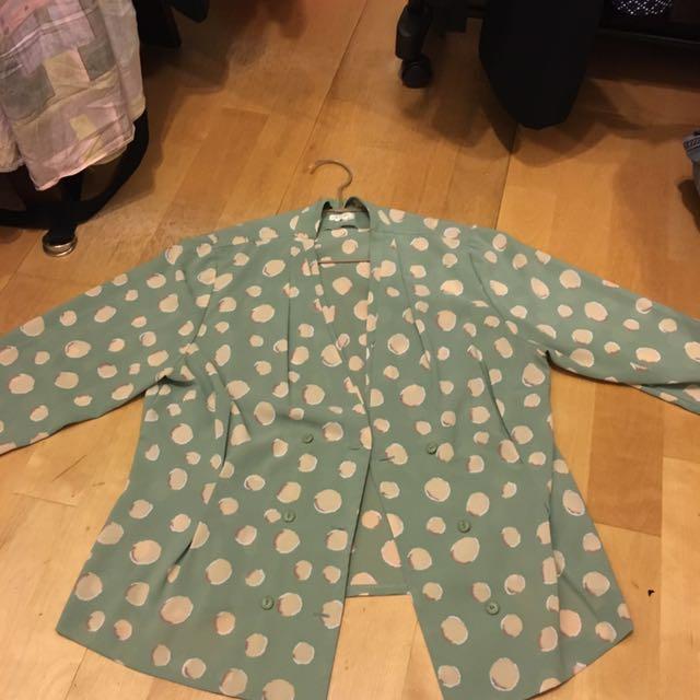Tiffany 綠泡泡復古罩衫 外套 西裝薄外套
