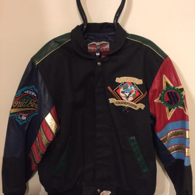 """Toronto Blue Jays World Champion 92 / 93 Back to Back World Series"""" leather bomber jacket designed by Jeff Hamilton"""