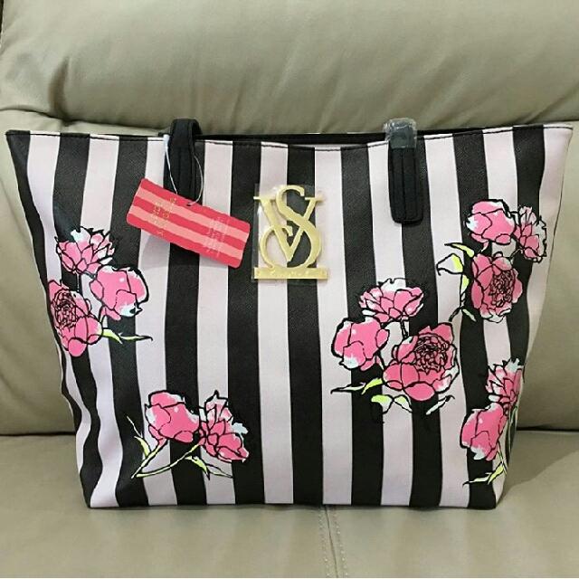 Victoria Secret Stripes flowers tote bag