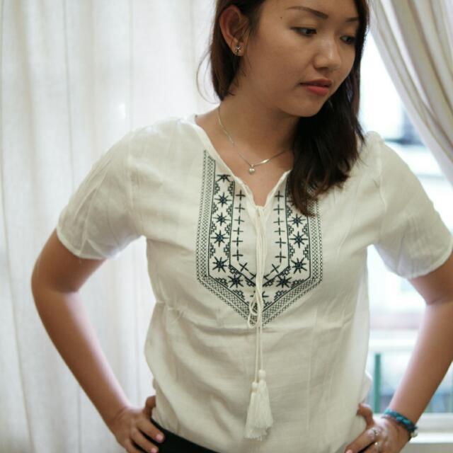 White Boho Embroidery Tassel Top