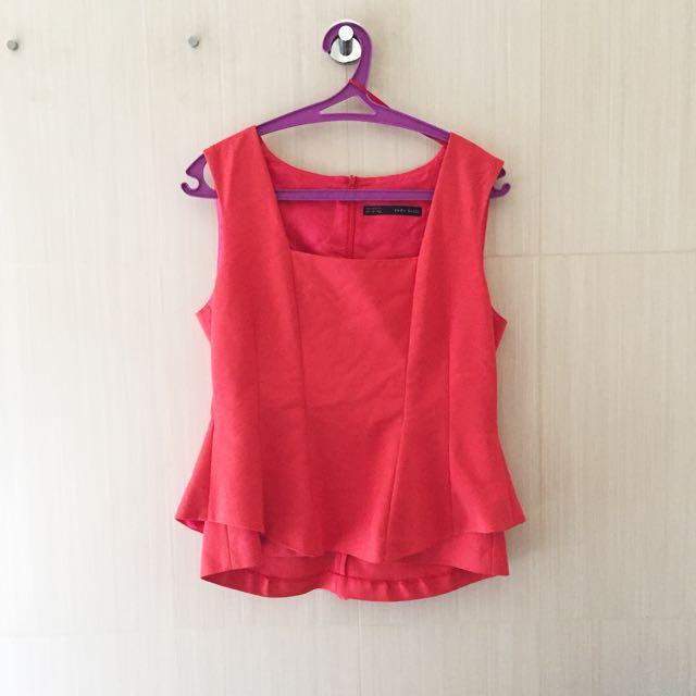 Zara Red Peplum Top