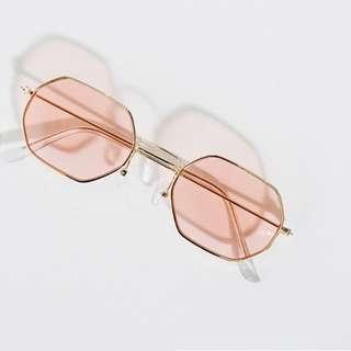 Hexagon Metal Frame Rayban Doop Sunglasses Gold Black Pink