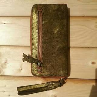 New Anthropologie Zip Around Genuine Suede Wallet