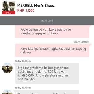 Fake Seller Selling Fake Merrell