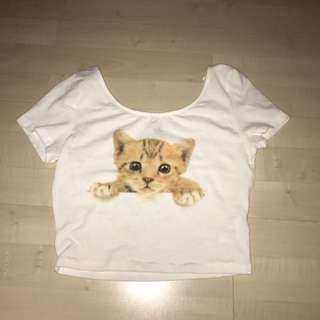 Crop Top With Cat On It