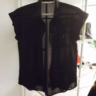 Semi Sheer Black Button Up Shirt