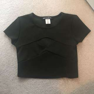 Dark Green Cutout Crop Top