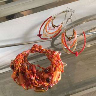 Beaded Earrings And Matching Bracelets