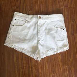 F21 White Shorts With Lace Trim