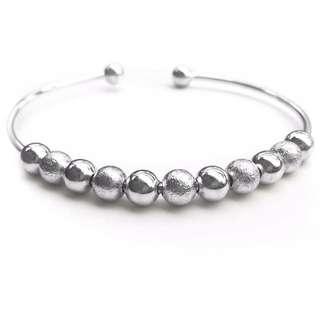 Silver Balled Cuff Bangle