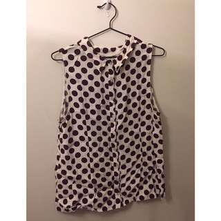 White and Red Polka Dot Dorothy Perkins Sleeveless Top Size 16