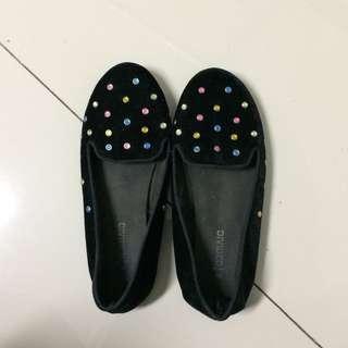 H&M Velvet Flatshoes