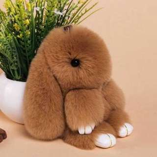 Rabbit Fur Doll Keychain Accessory