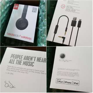 Beats Solo3 Wireless On-Ear Handphones in SPECIAL EDITION BLACK Less finger print compared to gloss black with receipt and Local Warranty