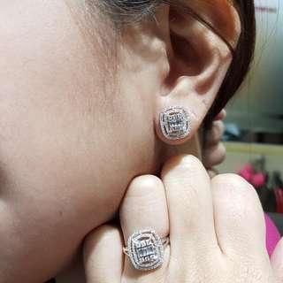 14k Ring & Earring Diamond Hongkong Setting