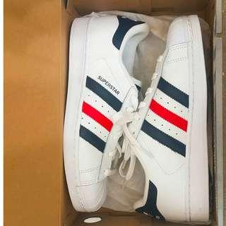 PRICE DROP* Men's Adidas Superstar (White/CoNavy/Red)