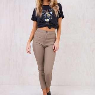 Slim High Rise Brown Pants