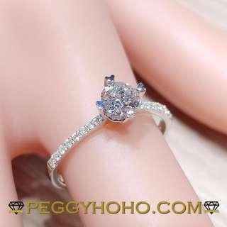 ((GIA證書---F色VVS1)) 全新18K白金(單粒40份) ((配微鑲小鑽))共50份鑽石戒指