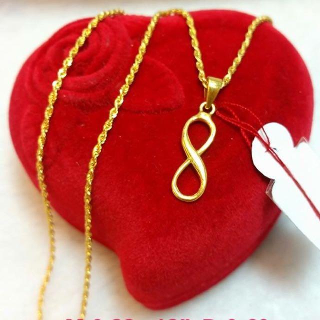 18K Saudi Gold Infinity Necklace Preloved Womens Fashion Jewelry