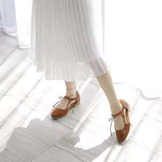 真皮綁帶芭蕾鞋