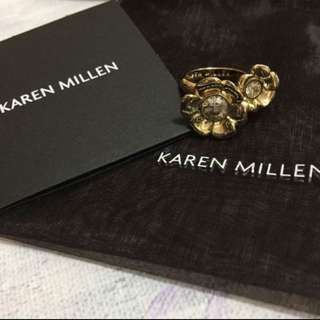 (NEW) Karen Millen Twin Flower Diamanté Ring