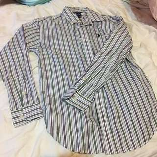 🚚 RalphLauren/尺寸14/MADE IN HONG KONG/直條紋襯衫,因花色不適合老公故售出。