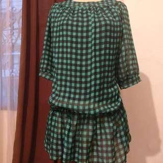 Green Black Checkered Blouse