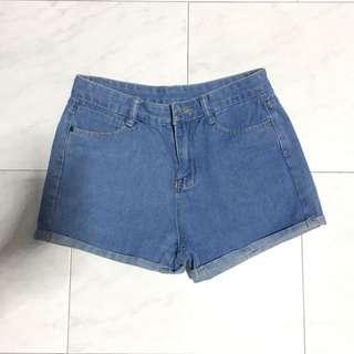 Light Denim Basic Hws High Waist Shorts