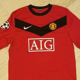 英超曼聯長袖球衣波衫歐聯版朗尼10號Nike Rooney Manchester United ManU 紅魔鬼 Jersey 2007-2009 AIG Logo
