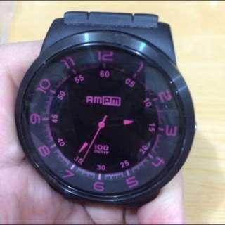 黑粉 橡膠 錶帶 運動手錶