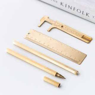NEW Gold Stationery Series II/ Brass/ Ruler/ Pen/ Vernier Caliper/ Pocket Tool