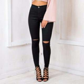 Knee Ripped High Waist Pants Color Black