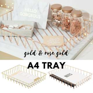 PROMO LUX Metallic A4 Letter Paper Tray/ Rose Gold/ Copper/ Minimalist/ Makeup Organiser/ Desk Organizer Basket