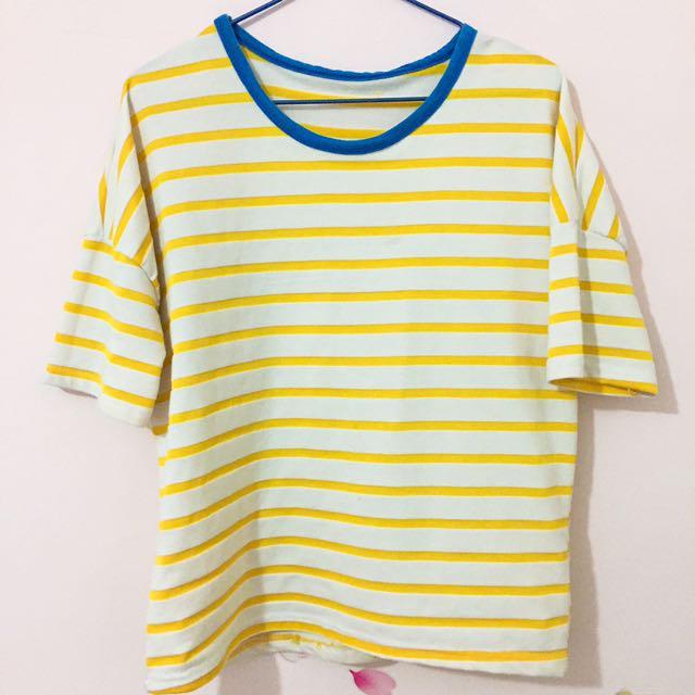 #海軍風白底黃色條紋上衣